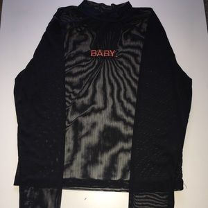 "Forever 21: ""BABY.""see through shirt"